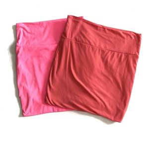 BUNDLE: neon pink and coral bodycon skirts, small